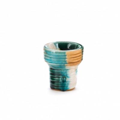 Чашка VINTAGE Clay&Glass Mortar (Ступа) бело-зелёно-бирюзовая