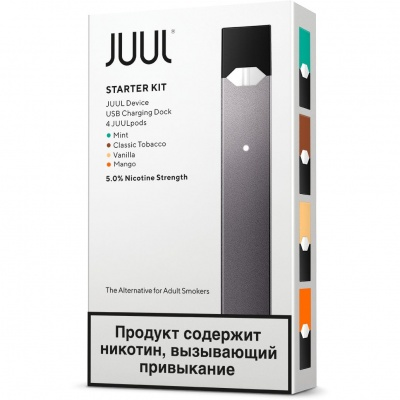 Набор Juul (8W, 200mAh) с картриджами JUUL Mint,Classic Tobacco, Vanilla, Fruit Mix (0,7 мл)
